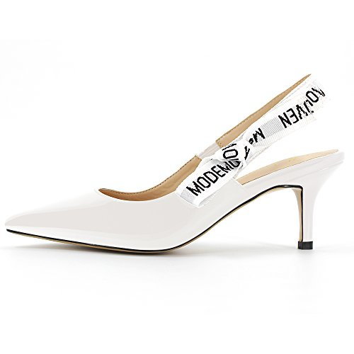 Modemoven-Womens-White-Patent-Leather-Pointed-Toe-Sling-Back-High-Heeled-Pumps-Embroidered-Ribbon-Shoes-65CM-Heel-75-M-US-0-0