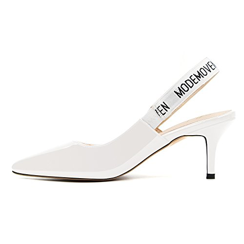 Modemoven-Womens-White-Patent-Leather-Pointed-Toe-Sling-Back-High-Heeled-Pumps-Embroidered-Ribbon-Shoes-65CM-Heel-75-M-US-0-4