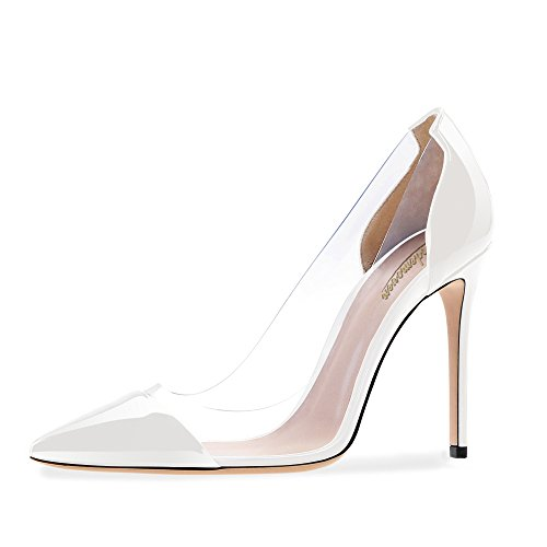 Modemoven-Womens-White-Pointed-Toe-Transparent-Heels-Patent-Leather-Dress-Pumps-Patchwork-Stiletto-Shoes-7-M-US-0