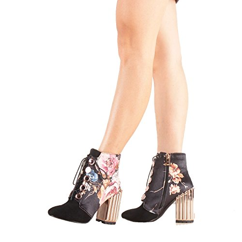 Onlymaker-Metal-Block-Heel-and-Flowers-Printed-Fabric-Lace-up-Fashion-Boot-Black-95-M-US-0-0