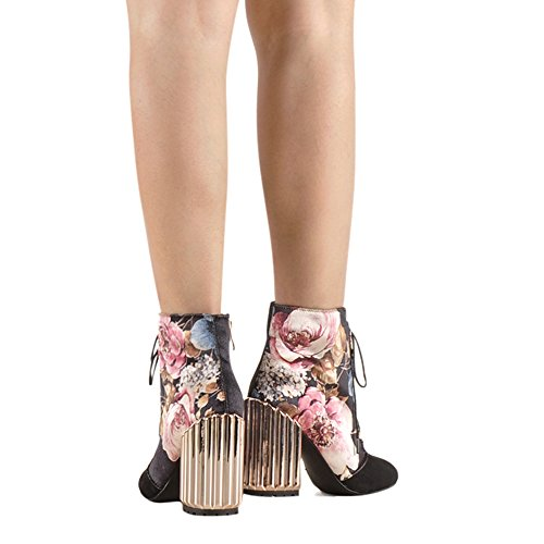 Onlymaker-Metal-Block-Heel-and-Flowers-Printed-Fabric-Lace-up-Fashion-Boot-Black-95-M-US-0-3