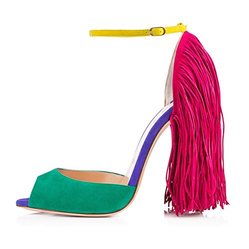 Onlymaker-Onlymaker-Womens-Fringe-Decoration-Peep-Toe-High-Heel-Sandal-Ankle-Buckle-Big-Size-for-Party-Green-9-M-US-0