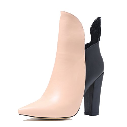 Onlymaker-Pointed-Toe-Block-Chunky-Heel-Ankle-Boot-for-Women-Black-and-Nude-15-M-US-0