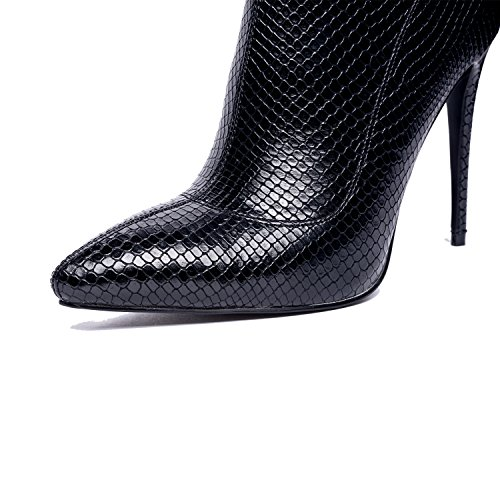 Onlymaker-Slim-Sock-Booties-Pointed-Pointy-Poe-High-Heels-Snake-Skin-Stiletto-for-women-Black-95-M-US-0-2
