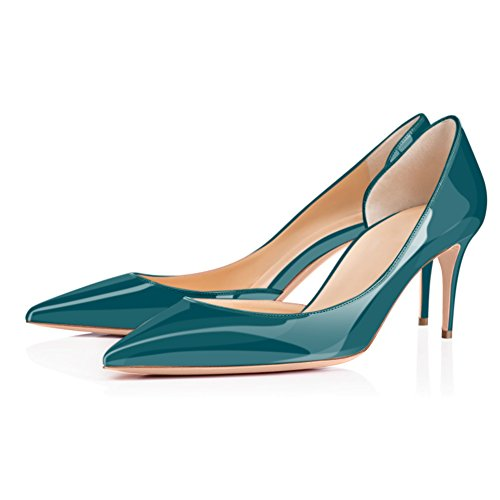Onlymaker-Womens-Chic-Pointed-Toe-Mid-Heel-Large-Size-Dress-Party-Pumps-Shoes-Teal-8-0