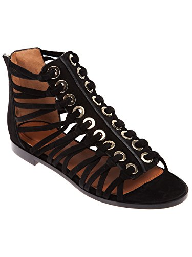 Onlymaker-Womens-Open-Toe-Cutout-Back-Zip-Strappy-Gladiator-Flat-Sandals-Black-14-M-US-0