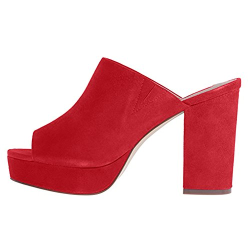 Onlymaker-Womens-Peep-Toe-Slip-On-Mule-Sueded-Clog-Platform-Block-Heel-Sandals-Red-6-M-US-0