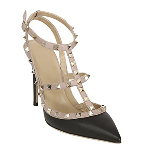 Onlymaker-Womens-Pointed-Toe-Rivet-Studded-Stiletto-T-Strap-Ankle-Strap-High-Heels-Sandals-Black-7-M-US-0-0