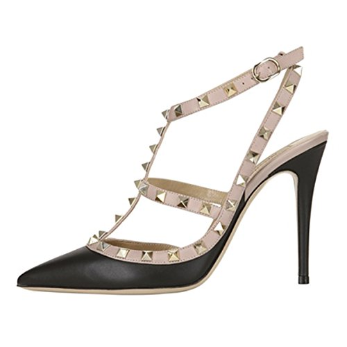 Onlymaker-Womens-Pointed-Toe-Rivet-Studded-Stiletto-T-Strap-Ankle-Strap-High-Heels-Sandals-Black-7-M-US-0