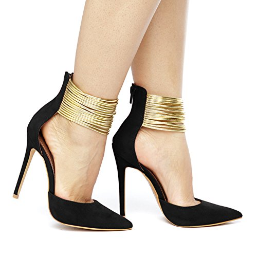 Onlymaker-Womens-Sexy-Pointed-toe-Metallic-Strappy-Ankle-Wrap-High-Heel-Stiletto-Pumps-Black-9-M-US-0