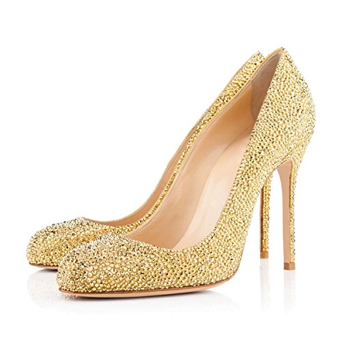 Onlymaker-Womens-Sexy-Rivets-High-Heel-Round-Toe-Slip-On-Stiletto-Pumps-Shoes-Gold-6-M-US-0-0