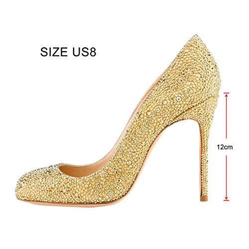 Onlymaker-Womens-Sexy-Rivets-High-Heel-Round-Toe-Slip-On-Stiletto-Pumps-Shoes-Gold-6-M-US-0-3