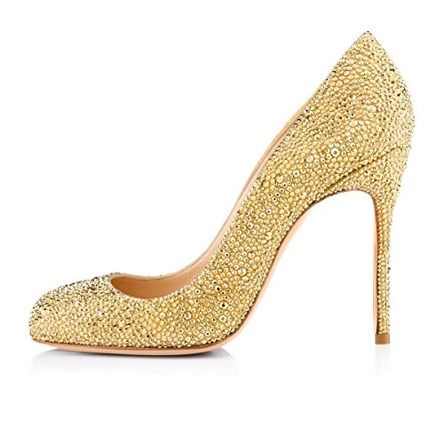 Onlymaker-Womens-Sexy-Rivets-High-Heel-Round-Toe-Slip-On-Stiletto-Pumps-Shoes-Gold-6-M-US-0