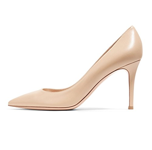 Soireelady-Womens-Classic-Closed-Toe-Dress-PumpSimple-Work-Party-Mid-Heeled-PumpsHigh-Casual-Comfortable-Shoe-8cm-Beige-US12-0