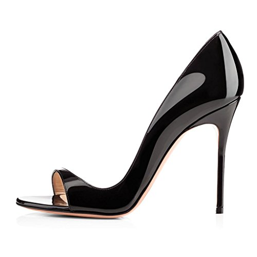 Soireelady-Womens-High-Heel-Pumps-Cut-Out-Open-Toe-Sandals-10cm-Stilettos-Wedding-Dress-Black-US12-0