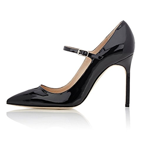 Soireelady-Womens-High-Heel-Pumps-Mary-Jane-Court-Shoes-Office-10CM-Stilettos-Black-US8-0