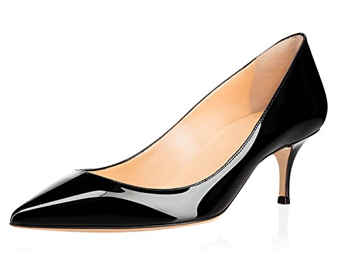 Soireelady-Womens-Kitten-Heels-Court-Shoes-65cm-Closed-Toe-Party-Club-Office-Dress-Pumps-Black-US10-0