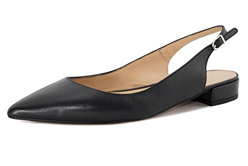 Soireelady-Womens-Slingback-Low-Heel-Pumps-Shoes-Pointed-Toe-Ankle-Strap-2cm-Block-Heel-Summer-Pumps-Black-US11-0