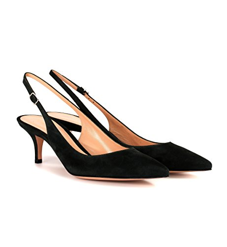 Soireelady-Womens-Suede-Pointed-Toe-Slingback-Pumps-Ankle-Strap-Kitten-Heels-Pumps-Evening-Stiletto-Shoes-65cm-Black-US9-0-1