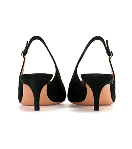 Soireelady-Womens-Suede-Pointed-Toe-Slingback-Pumps-Ankle-Strap-Kitten-Heels-Pumps-Evening-Stiletto-Shoes-65cm-Black-US9-0-2