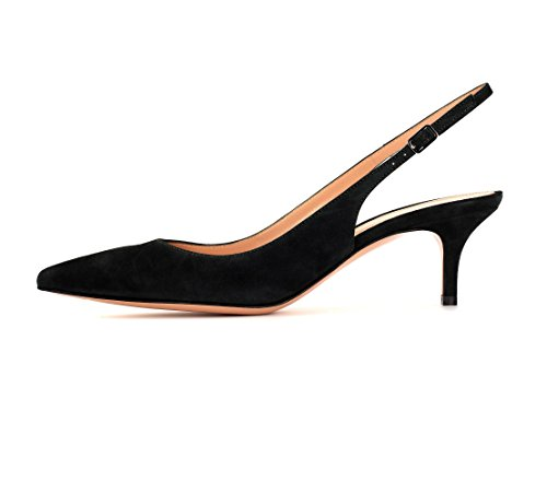 Soireelady-Womens-Suede-Pointed-Toe-Slingback-Pumps-Ankle-Strap-Kitten-Heels-Pumps-Evening-Stiletto-Shoes-65cm-Black-US9-0