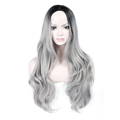 Womens-Fashion-Ombre-27-Inches-Gray-Synthetic-Lace-Front-Wig-Dark-Roots-Long-Natural-Curly-Silver-Grey-Replacement-Hair-Wigs-Heat-Resistant-Fiber-Hair-Half-Hand-Tied-0
