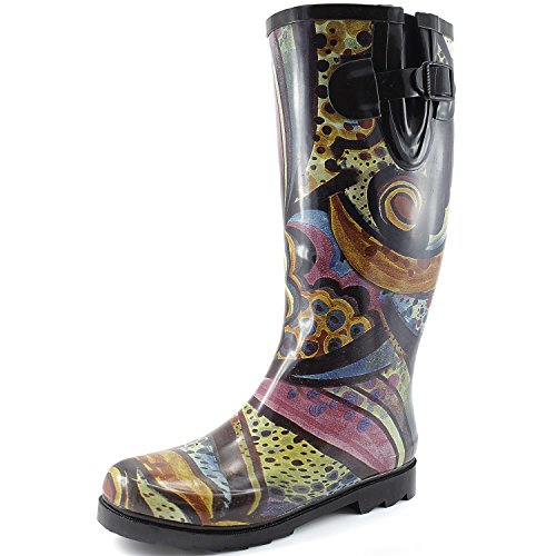 Womens-Puddles-Rain-and-Snow-Boot-Multi-Color-Mid-Calf-Knee-High-RainbootsMonet-13-BM-US-0