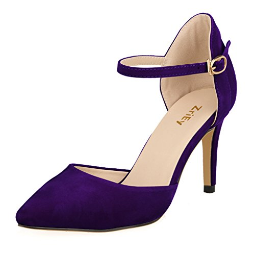 ZriEy-Women-Faux-Suede-Mid-High-Heels-Pointed-Corset-Wedding-Party-Dress-pumps-Purple-size-9-0