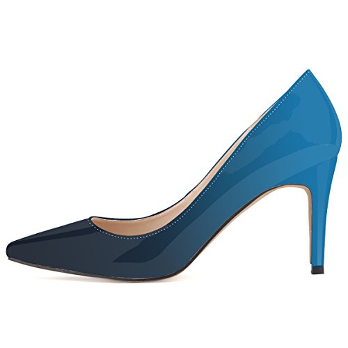 ZriEy-Women-Pumps-High-Heels-Shoes-Closed-Toe-Pointed-Slender-Leather-Double-Color-Blue-size-75-0