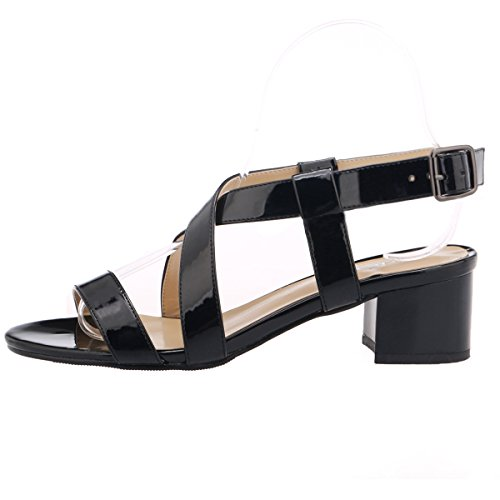 ZriEy-Womens-Classic-Fashion-Buckle-Mid-Chunky-Heel-Sandals-Ultra-Comfort-Low-Heel-Shoes-Black-Size-9-0