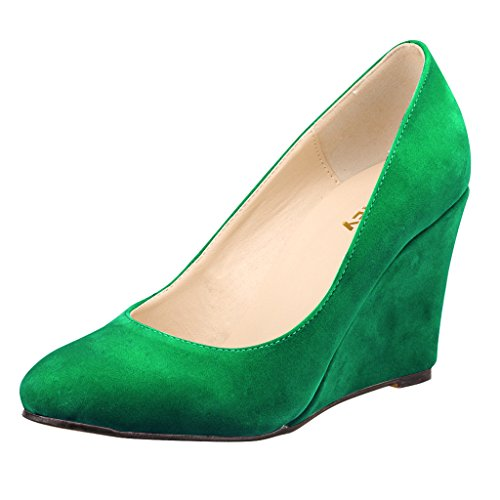 ZriEy-Womens-Close-Toe-Fashion-Wedge-Pumps-Sexy-Heels-Velvet-Green-size-95-0