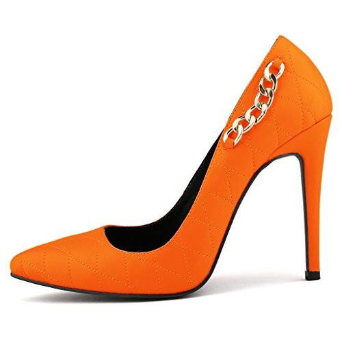 ZriEy-Womens-Closed-Pointed-Toe-Matt-leather-Heels-for-Business-Work-Office-Pumps-Orange-size-75-0