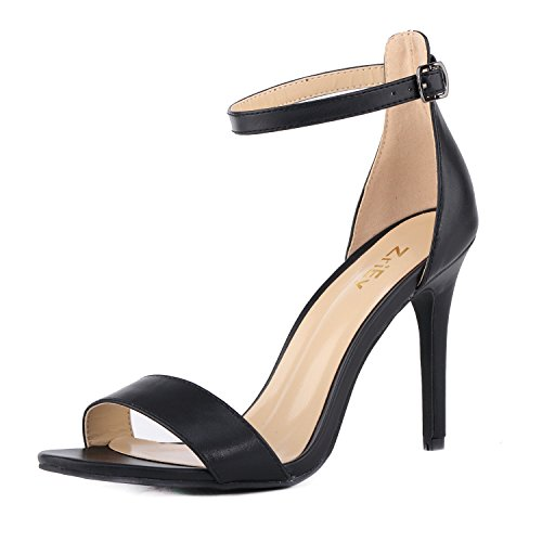 ZriEy-Womens-Heeled-Sandals-Ankle-Strap-High-Heels-10CM-Open-Toe-Bridal-Party-Shoes-Black-Size-85-0