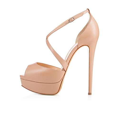 ZriEy-Womens-Sexy-Noble-Platform-Sandals-Ankle-Strap-High-Heels-for-Cocktail-Prom-Party-Wedding-Dancing-Shoes-Matt-Leather-Nude-size-9-40-M-EU-0