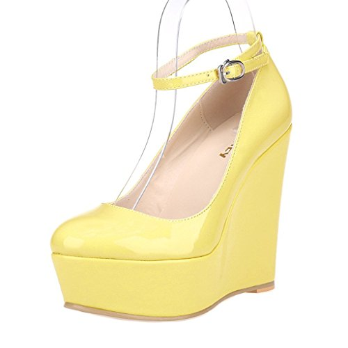 ZriEy-Womens-Sexy-Platform-Exclusive-Wedges-High-Heels-Pumps-Party-Casual-Shoes-Patent-Leather-Yellow-size10-0