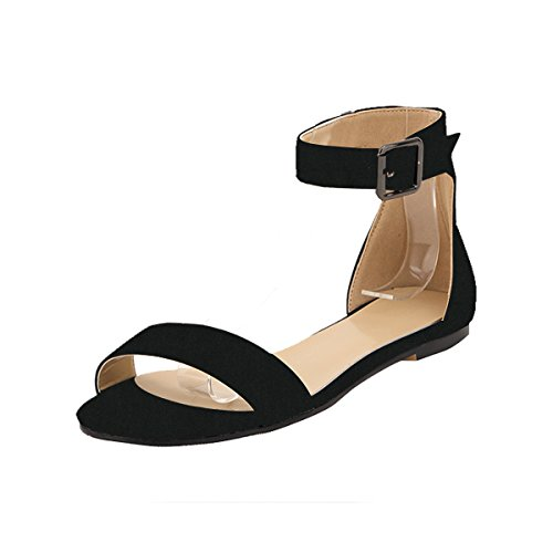 ZriEy-womens-Classic-Ultra-Comfort-Sexy-Ankle-Strap-Buckle-Low-heel-Sandals-Flat-shoes-Velvet-Black-size-6-0