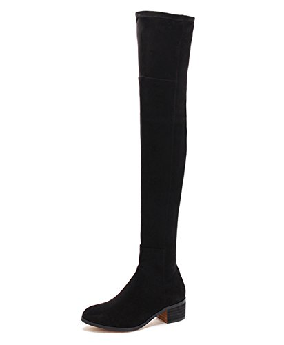 Guoar-Closed-toe-Square-Low-Heel-Over-the-Knee-Thigh-High-Lace-Black-Microsuede-Stretch-Boots-us10-0