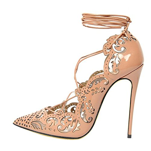 Guoar-Womens-Multicolor-Big-Size-Pointed-Toe-Stiletto-High-Heels-Openwork-Tie-Embossed-Pumps-Shoes-Nude-Patent-US105-0