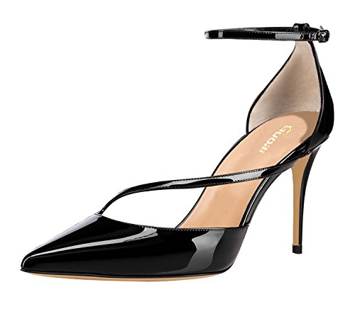Guoar-Womens-Pointed-Toe-High-Heel-Shoes-Stiletto-Pumps-Strappy-Ankle-Strap-size-5-12-Black-US-5-0