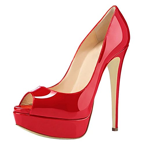 Joogo-Women-Peep-Toe-Pumps-Platform-Thin-Heel-Stiletto-Sandals-Wedding-High-Heels-Slip-On-Dress-Shoes-Red-Size-8-0
