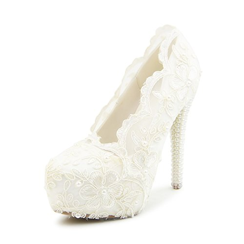 Womens-White-Lace-Platform-High-Heel-Pearls-Bridal-Wedding-Pumps-0