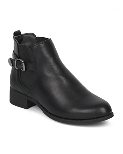 Alrisco-Women-Chelsea-Motorcycle-Belted-Ankle-Boot-Bootie-Casual-Chic-Versatile-Festival-Motorcycle-Ankle-HE85-by-Refresh-Collection-Black-Leatherette-Size-10-0