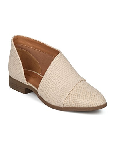 Alrisco-Women-Cut-Out-Ankle-Bootie-Pointy-Toe-Slip-On-Bootie-Trendy-Festival-Office-Casual-Dressy-Ankle-Boot-HD47-by-Qupid-Collection-Beige-Snake-Size-80-0