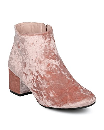 Alrisco-Women-Metallic-Chunky-Heel-Bootie-Low-Block-Heel-Ankle-Boot-Dressy-Casual-Versatile-Everyday-Trendy-Ankle-Boot-HD26-by-Qupid-Collection-Pink-Velvet-Size-70-0
