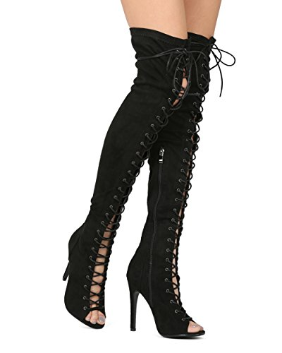 Alrisco-Women-Over-The-Knee-Peep-Toe-Lace-Up-Stiletto-Boot-HF39-by-Top-Show-Collection-Black-Faux-Suede-Size-85-0