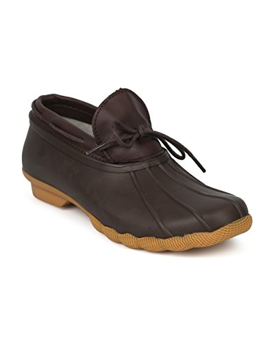 Alrisco-Women-Webbed-Lace-Up-Low-Top-Garden-Duck-Shoe-HG07-by-Brown-Size-80-0