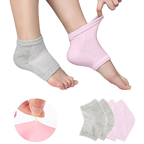 Codream-Vented-Moisturizing-Gel-Heel-Socks-Day-Night-Toe-Open-Feet-Care-Sets-Ultimate-Treatment-for-Dry-Hard-Cracked-Skin-with-Spa-Quality-Botanical-Gel-Pack-of-2-Pairs-Pink-and-Grey-0
