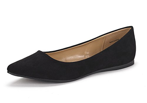 DREAM-PAIRS-SOLE-CLASSIC-Womens-Casual-Pointed-Toe-Ballet-Comfort-Soft-Slip-On-Flats-Shoes-BLACK-SUEDE-SIZE-10-0