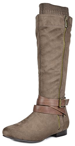 DREAM-PAIRS-Womens-Beltran-Khaki-Flat-Slouch-Knee-High-Boots-Wide-Calf-Size-7-M-US-0
