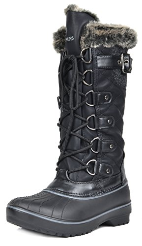 DREAM-PAIRS-Womens-DP-Avalanche-Black-Faux-Fur-Lined-Mid-Calf-Winter-Snow-Boots-Size-7-M-US-0